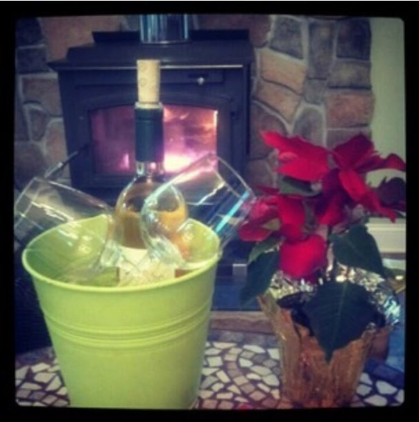 Nothing like some cold wine, and a hot fire!!