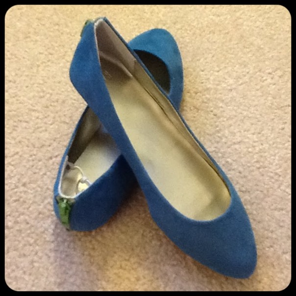 Blue Suede Flats w/ Zipper
