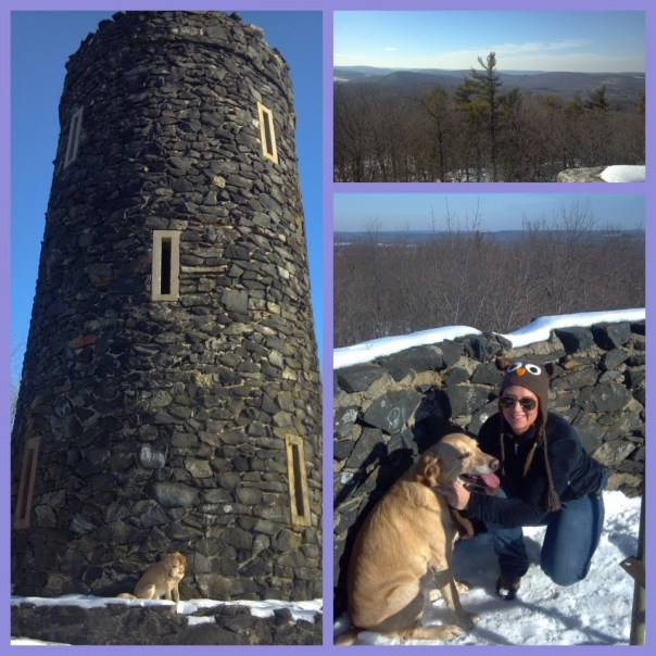Mount Tom Tower, and Me and Taz at the top with the view!