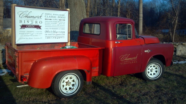 Vineyard truck at the entrance