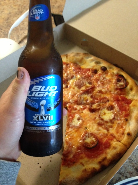 Of course some post-race celebration beer and pizza!  YUM!