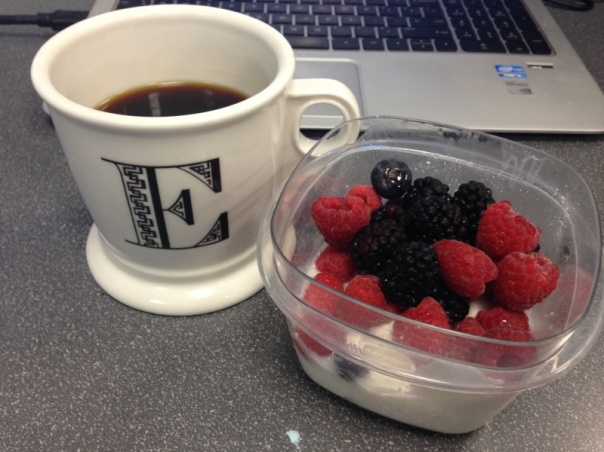 Breakfast:  I cup of mixed berries (raspberries, blackberries, and blueberries) along with 6 ounces of plain greek yogurt, and black coffee.