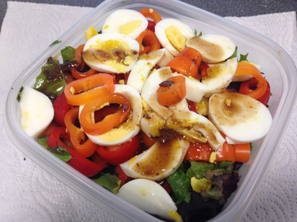 Lunch:  Salad with mixed organic greens, red and orange bell peppers, carrots, 2 hard boiled eggs, and 1 tablespoon low fat dressing (yes i measured it out).