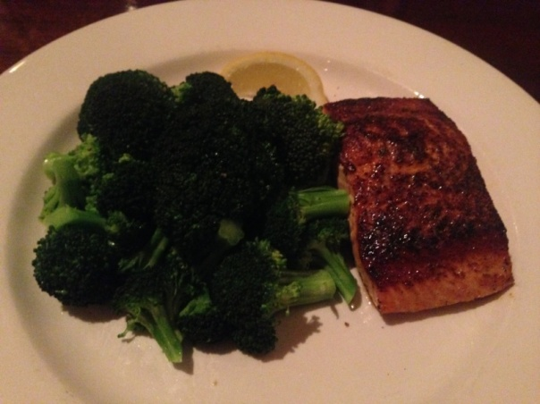 Dinner:  Cajun salmon and broccoli.  SO good!  See you can go out and still be good.