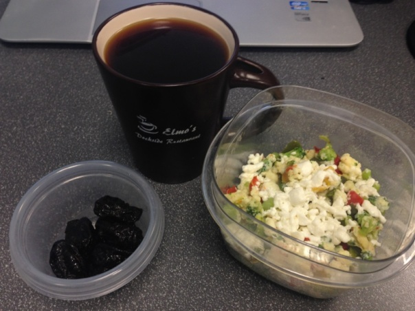 Breakfast:  egg whites, broccoli, peppers, and fat free feta cheese, and prunes