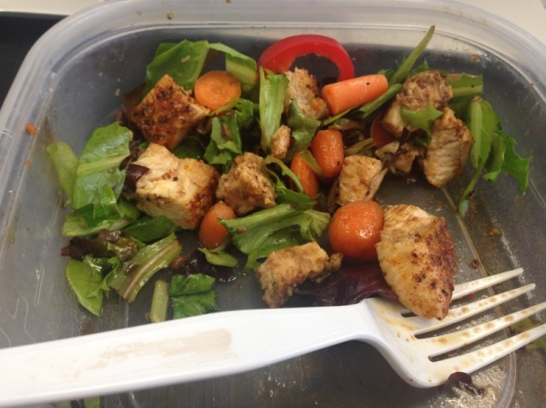 Lunch:  Salad with mixed greens, red peppers, carrots, chicken, drizzled with balsamic vinegar and flaxseed oil.  Almost forgot to take a picture of this bad boy;  close call!