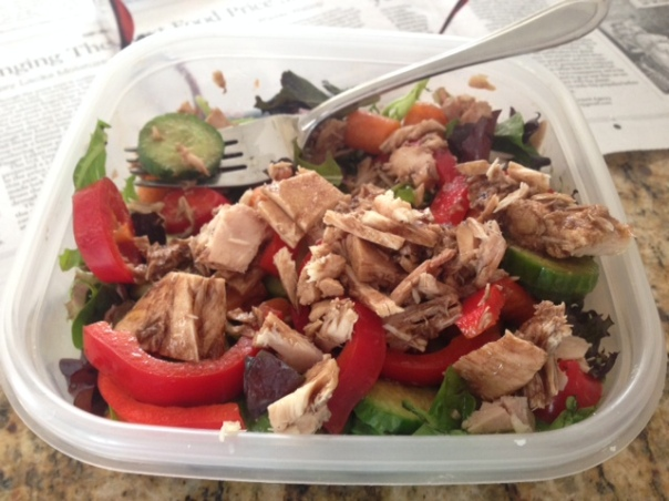 Lunch:  Salad with mixed greens, red peppers, cucumbers, and tunafish, drizzled with balsamic vinegar and flaxseed oil.