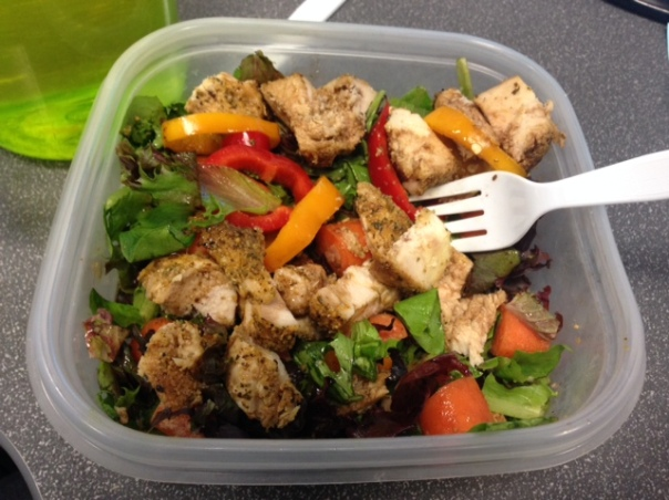 Lunch:  Salad with organic spring mix, carrots, red and yellow peppers, and chicken drizzeled with 2 tablespoons balsamic vinegar and 1 tablespoon magical flaxseed oil.  I wasn't a fan of this chicken today.  I mean it tasted fine, but wasn't great.