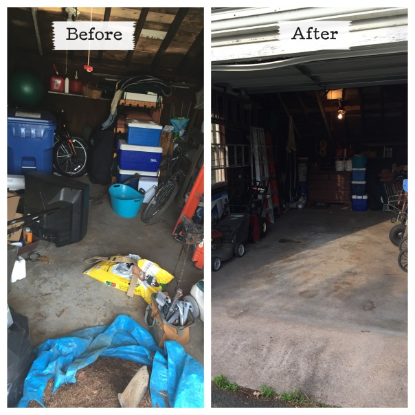 6 months + several parties + a couple roommate changes + lots of yard and housework = this mess of a garage.  Luckily that is all history!